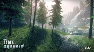 A pine forest that you'll need to go through for Time Squared's main missions